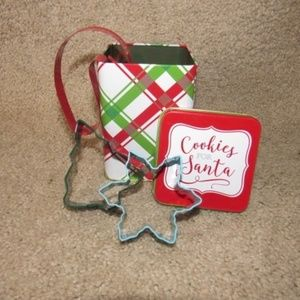 Other - Christmas Cookie Tin Canister & Cookie Cutter Set